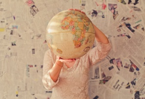 globe and newspaper